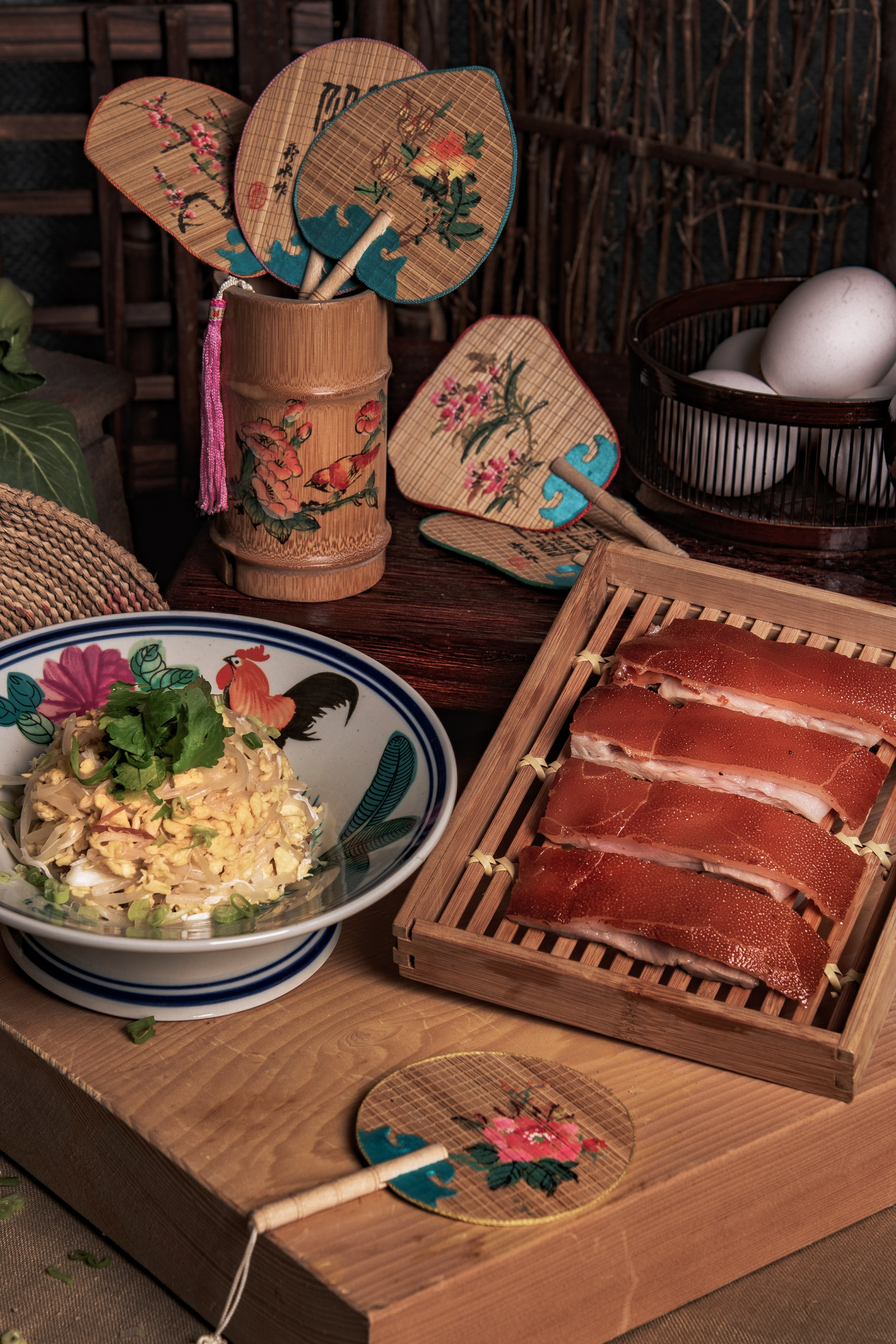 Roasted Suckling Pig serving on Scrambled Egg with Fresh Crab Meat, Conpoy and Beans Sprout.jpg