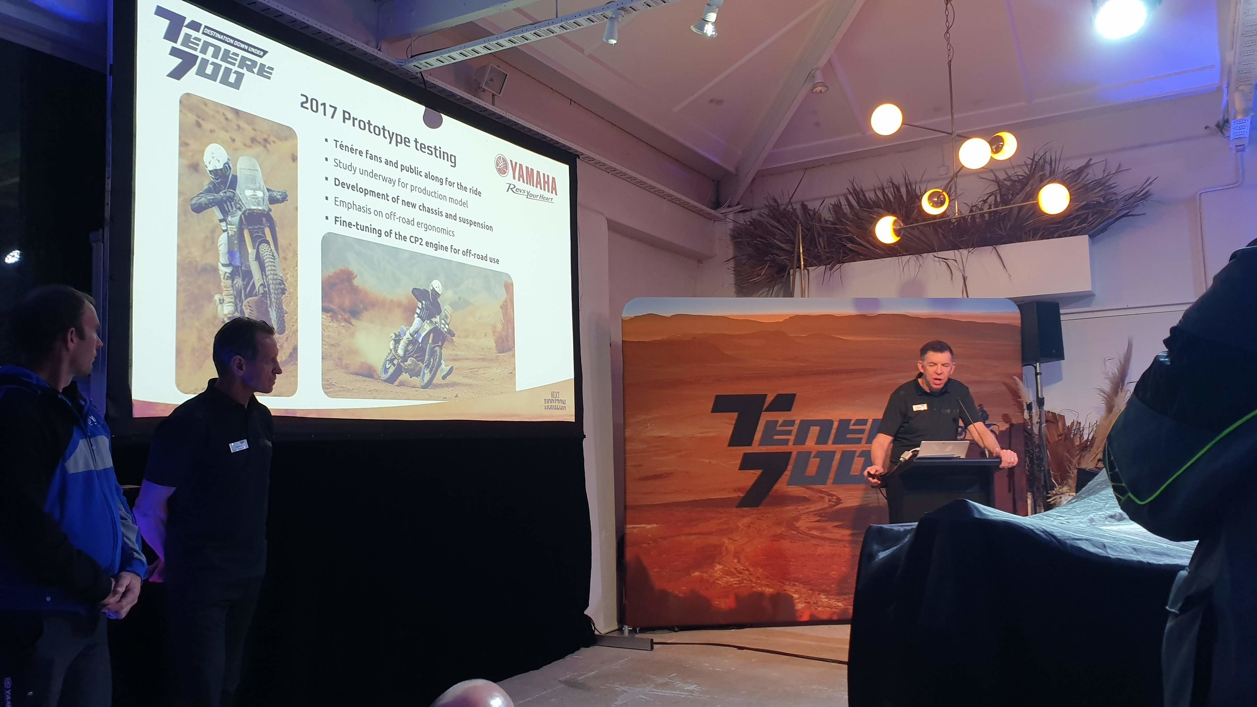 Opening the show saw the Yamaha team give a detailed presentation around how and why the T7 was developed, and its heritage back to the original Tenere that started their Adventure game back in the early 80s.
