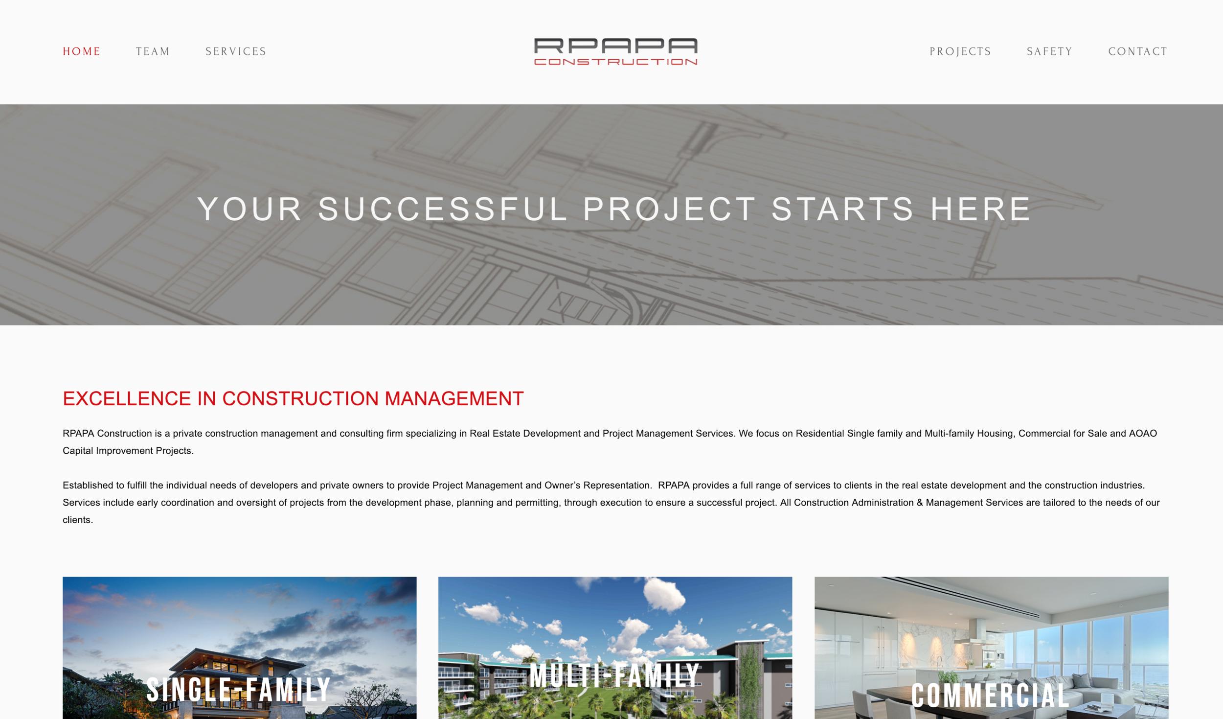 RPAPA Construction - Site Transfer, Re-design & Customization