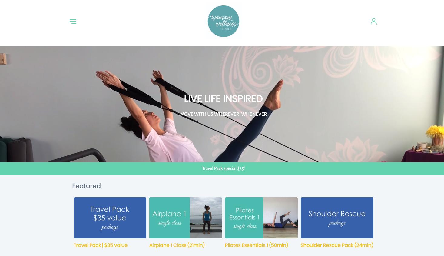 Wainani Wellness Videos - Site Setup, Customization, Digital Goods E-commerce, Image Curation