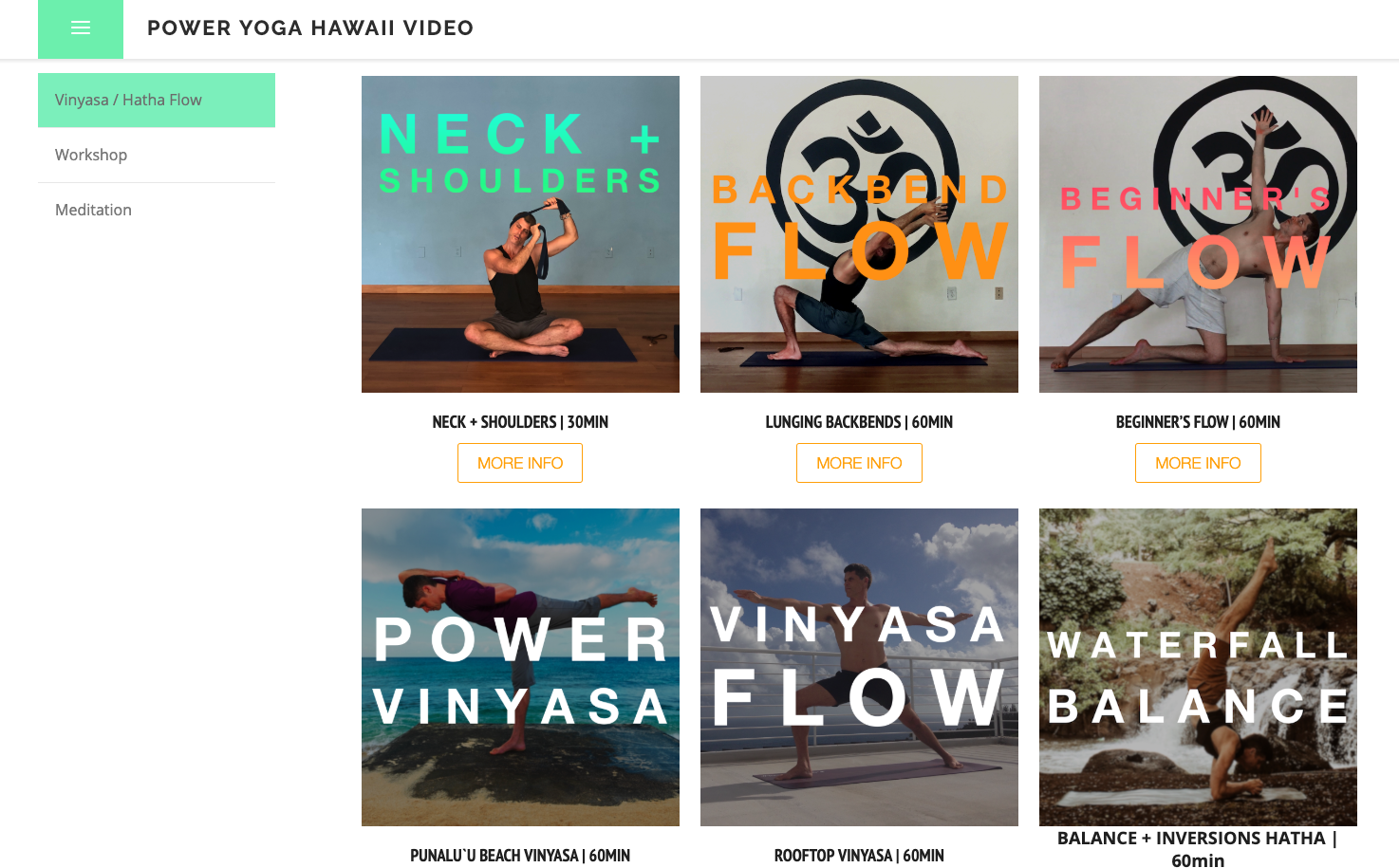 Power Yoga Hawaii Video - Site Setup, Customization & Management, Image Curation, Video on Demand E-commerce, Photography