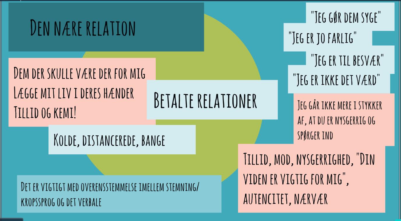 Den Nære Relation - At den professionelle tør indgå i et personligt samarbejde med patienten, er altafgørende for bedring. Jeg fortæller om når det lykkes og når det ikke gjorde.