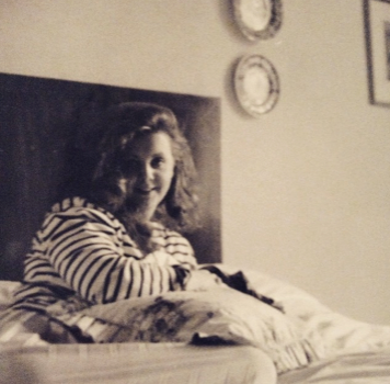 This is my mum back in the early nighties, just after I was born. She is younger here than I am now which is a scary thought! It's one of my favourite pictures of her.