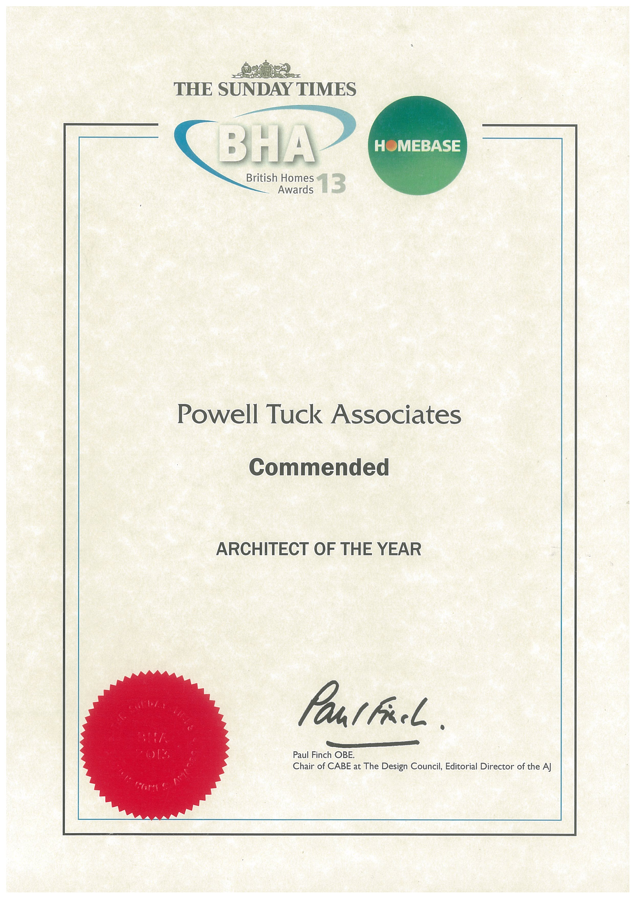 Architect of the Year, CommendedBritish Homes Awards 2013 -