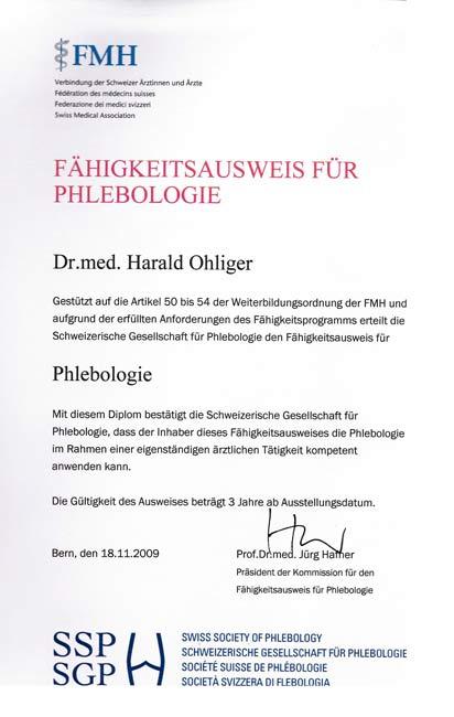 Fachausweis für Phlebologie