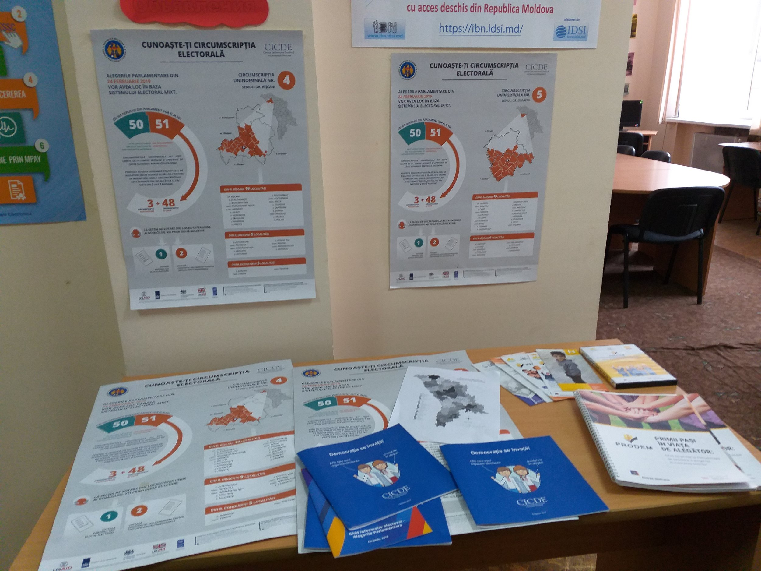 IRI observers found voter education materials at a library in Riscani.
