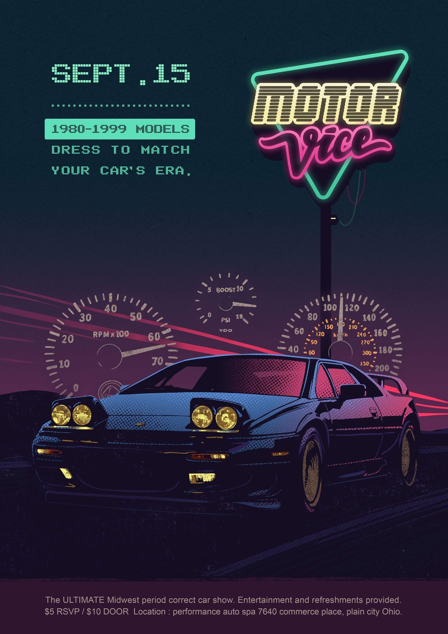 MotorVice Lotus Print   Totally Awesome print featuring the Lotus Esprit and celebrating the first ever Midwest MotorVice Show   $22