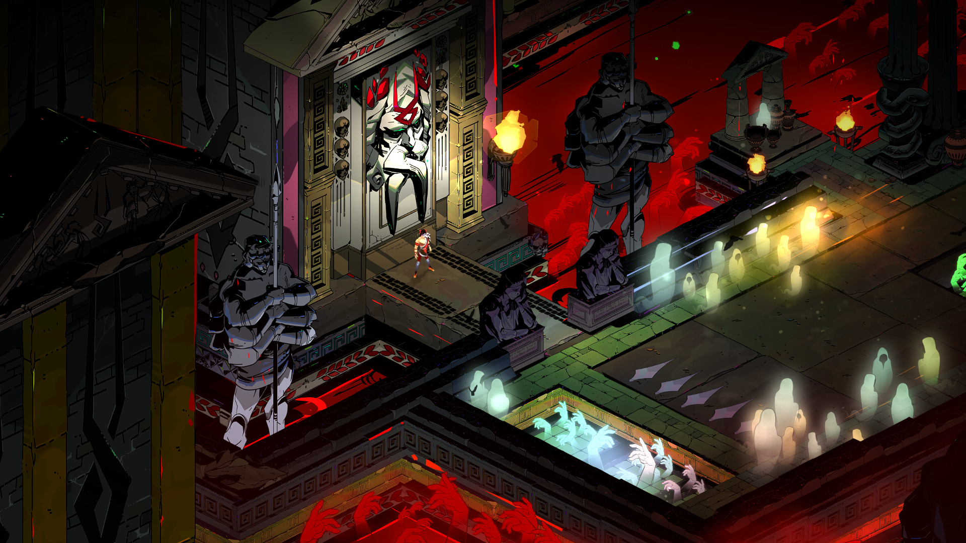 Supergiant Games Hades. Good example of mixing construction set tiles to use small and big objects.