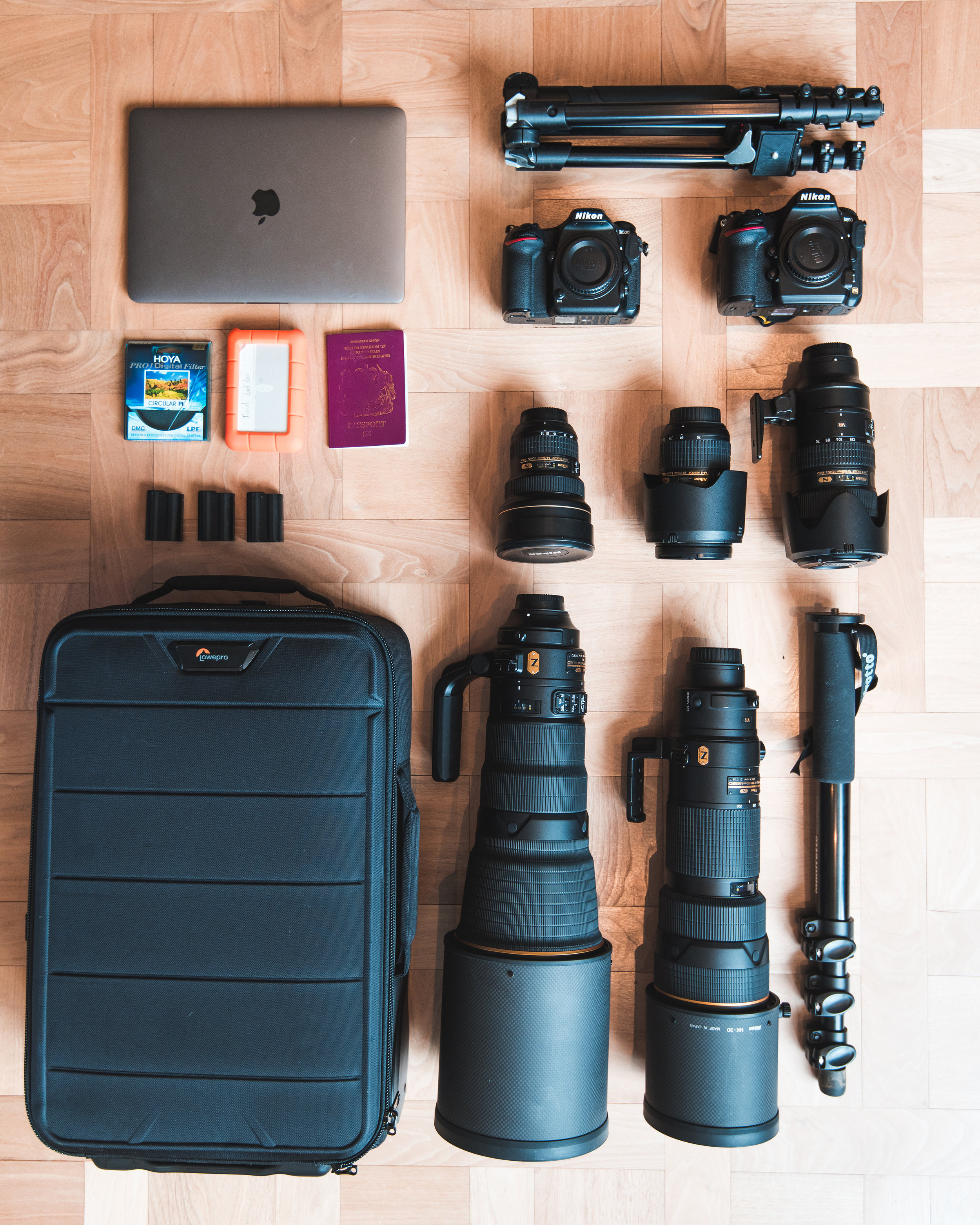 - Once I've compiled all the kit I want to take, I need to consider how to transport it all.I've struggled with camera bags over the years, mostly because I find them uncomfortable on my back which, after 50+ flights a year, hikes and general travel really starts to kill me!When I fly, I always use a roller case. I use the Lowe pro 150, which I love! With loads of room for multiple bodies, lenses and a laptop, it's practical, accessible and provides great protection. For general walking around and hiking I've been trying out a few different bags.