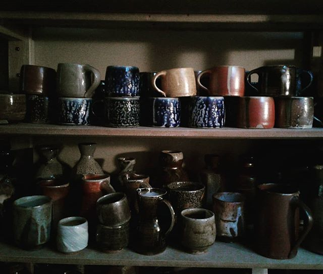 An inventory of cups since the depletion in December.  #cups #guinomi #teabowls #yunomi #mugs #wine #coffee #tea. #pottery
