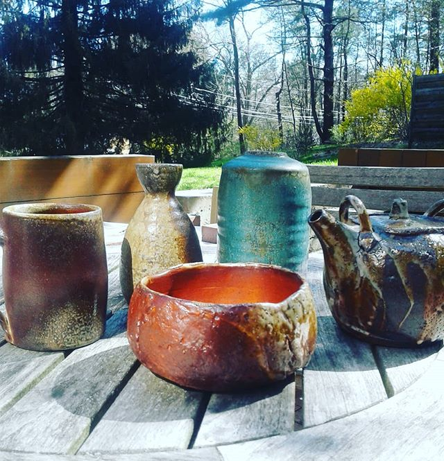 A few favorites from the recent firing.  Love the ash.  #woodfiring #womenmakers #functionalart #pottery #ceramics #coffee #tea @nhiart