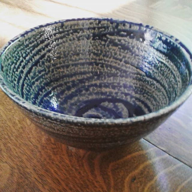 Larger blue salt glazed bowl.  I've made a few of these where I've managed to brush the slip on with grace.  #sodaglaze #saltfired #blue #bowls #ceramics #pots