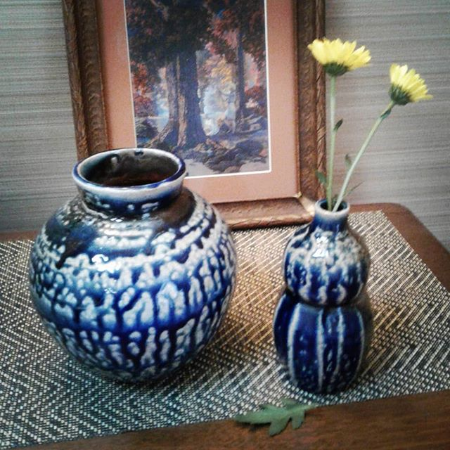 Couple of blue pieces from our most recent firing.  There were some really good pieces this time, but always some dissapointments when firing with salt and soda.  This is never boring.#sodaglaze #saltfired #blue #flowers #functionalart  #womenmakers #wildclays