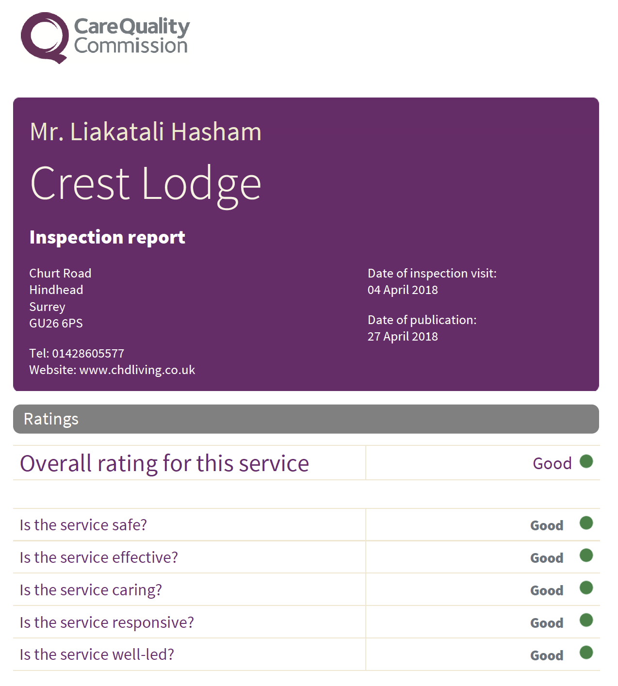 Crest Lodge CQC