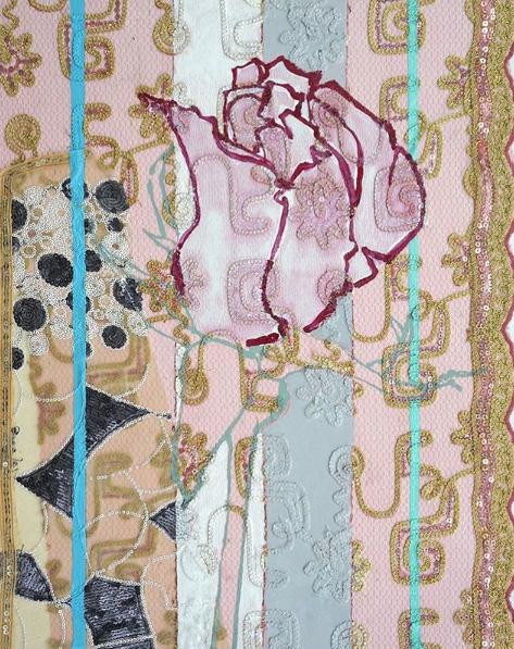Robert Kushner, Pink Wedding Cake Rosebud, 2018 Oil, acrylic, ink, paper, silk brocade on panel