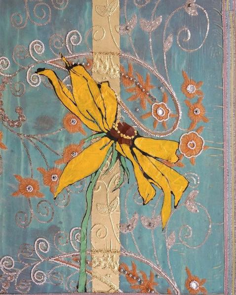 Robert Kushner, Rudbeekia Spring Sky, 2018 Oil, acrylic, ink, paper, silk brocade on panel