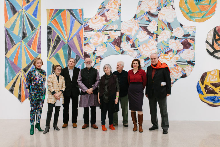 'Pattern and Decoration: Ornament as Promise' at Mumok, Vienna. Pictured from left to right: Karola Kraus, Manuela Ammer, Curator, Ned Smyth, Robert Kushner, Joyce Kozloff, Robert Zakanitch Image credit: Niko Havranek
