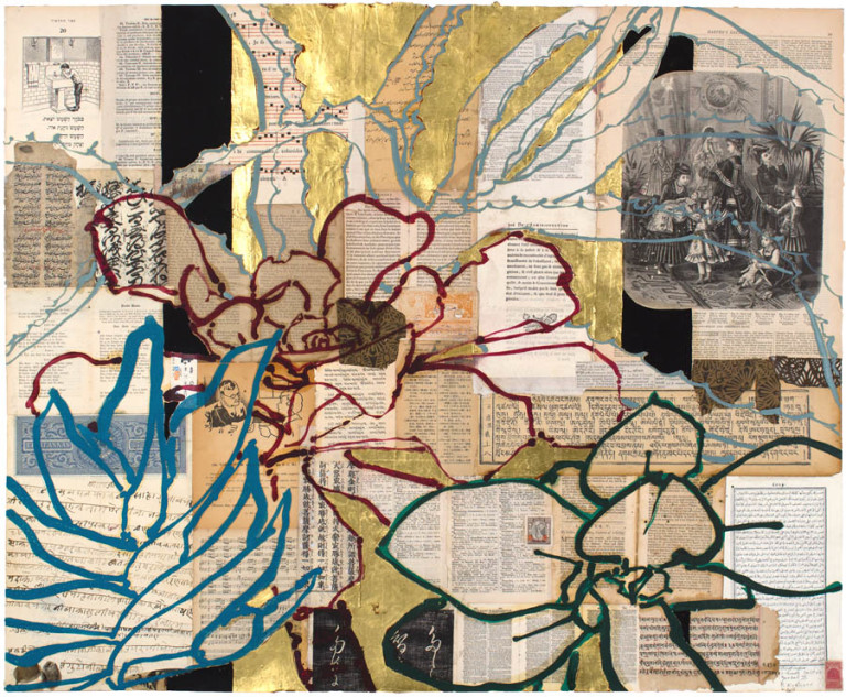 Robert Kushner,  Huntington Library Cactus Garden II , 2014, collage, ink, gold leaf and acrylic, 30 x 37 inches