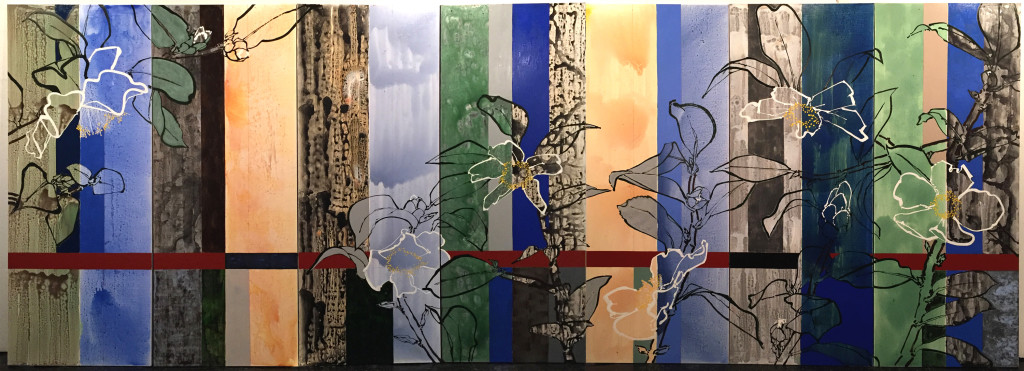 Robert Kushner, Tenderness, 2015, oil and acrylic on seven panels, 102″x 256″