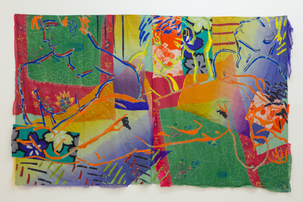 Robert Kushner, Torrid Dreams, 1984, acrylic, silk and cotton appliqué on cotton. Photo by Pablo Enriquez for MoMA PS1.