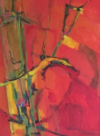 Dorothy Browdy Kushner,  Red , casein on board, 40×30″, mid 60s.