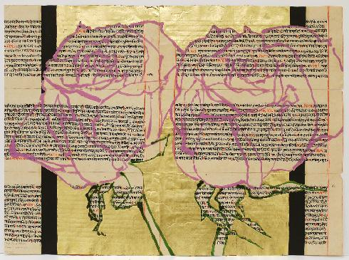 Two Pink Roses, 2011, oil, gold leaf and acrylic on book pages, 18 1/4 x 25""
