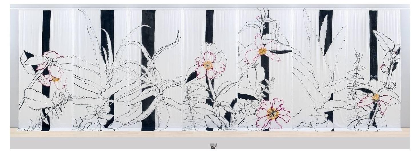 """Camellias and Cacti,"" painted on transparent fabric, measuring 12'x 42′.  Hakusasonso Hashimoto Kansetsu Garden and Museum, Kyoto, Japan"