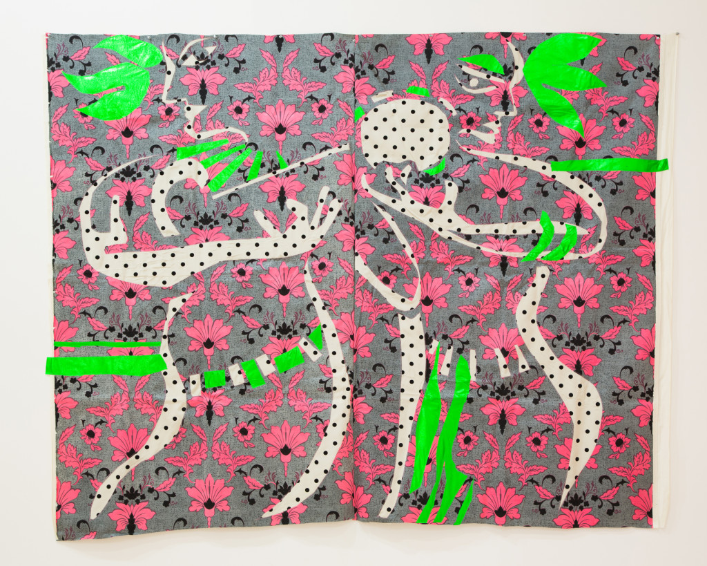 Robert Kushner,  Composition in Green and Pink , 1982, mylar and dotted Swiss reverse appliqué on printed cotton.