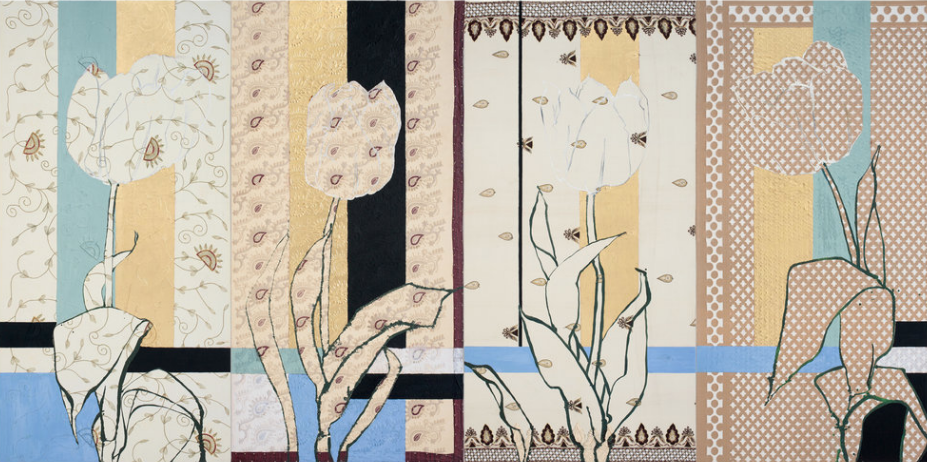 Mughal Tulips, 2018, oil, acrylic, gold leaf, silk, silk brocade, embroidery, sequins, beads, and glitter on canvas 72 x 144 inches (overall); 72 x 36 inches (each)