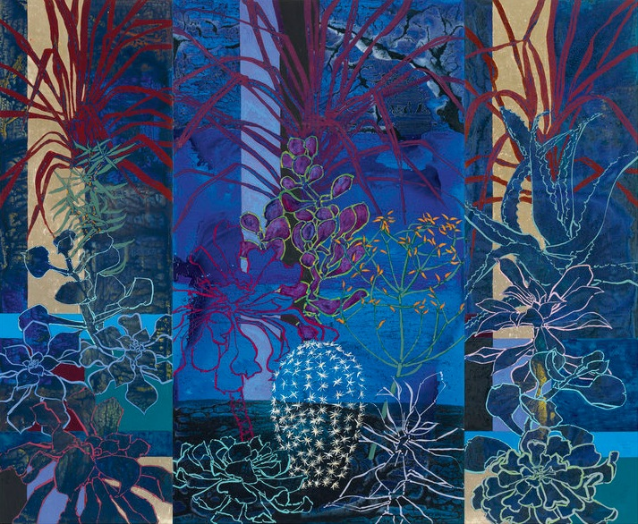 Midnight in the Huntington Library Cactus Garden, 2014, oil, acrylic, and gold leaf on canvas, 108 x 132 inches (overall)