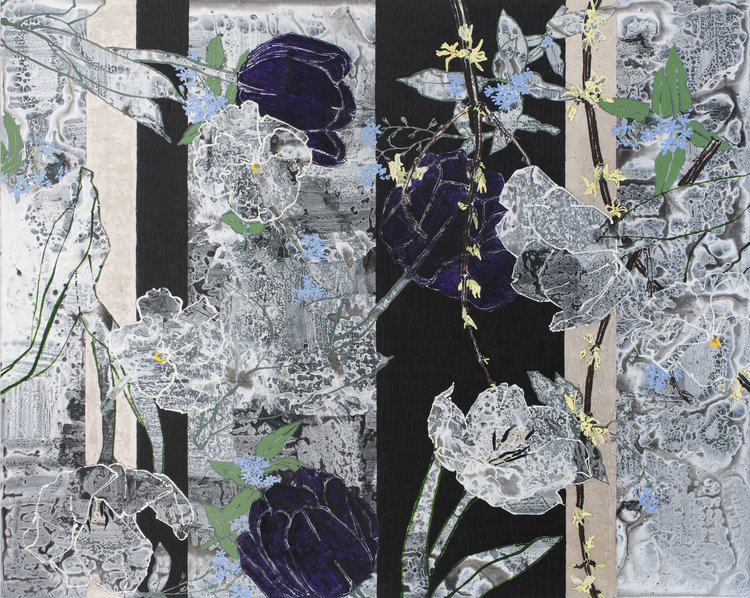 Homage to Russell Page, 2012, oil, acrylic, and palladium leaf on canvas, 72 x 90 inches