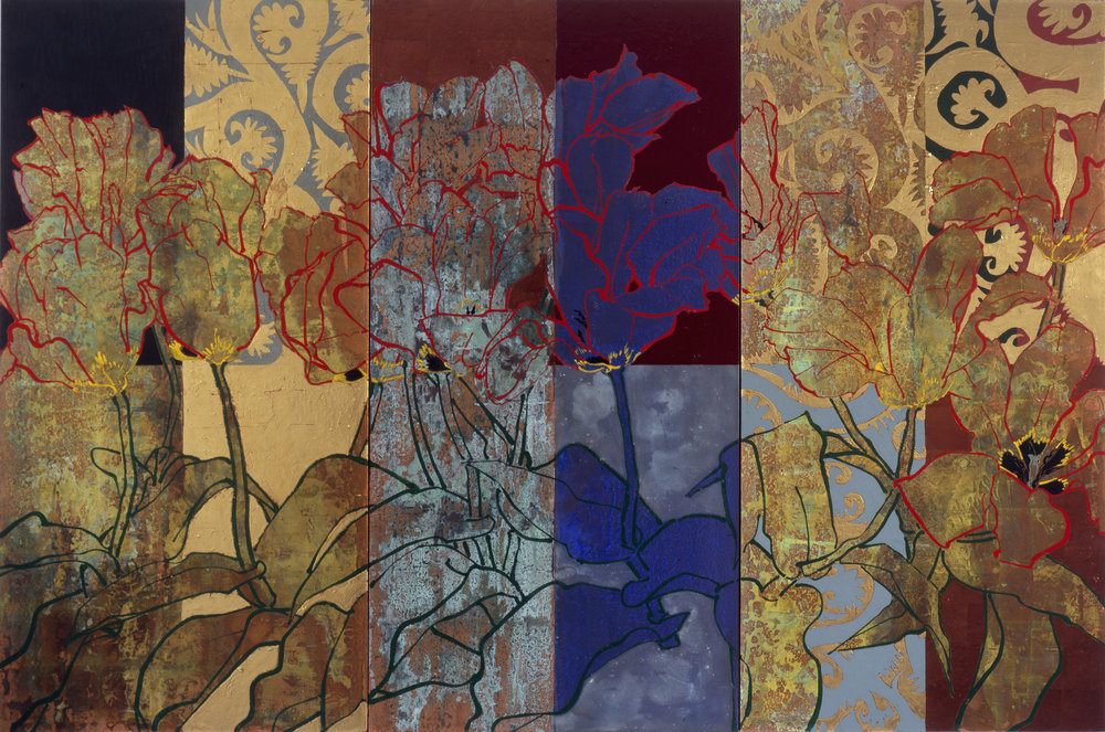 Twelve Red Emperors, 2008, oil, acrylic, gold leaf, silver leaf, and copper leaf on canvas, 72 x 108 inches