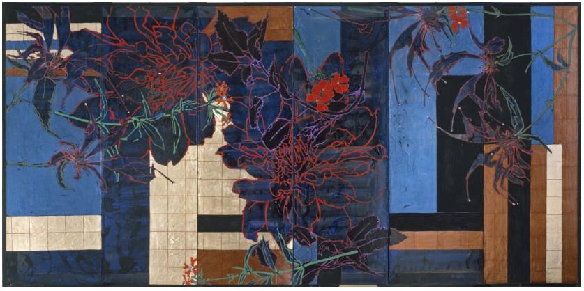 Red Dahlias and Monarda by Robert Kushner