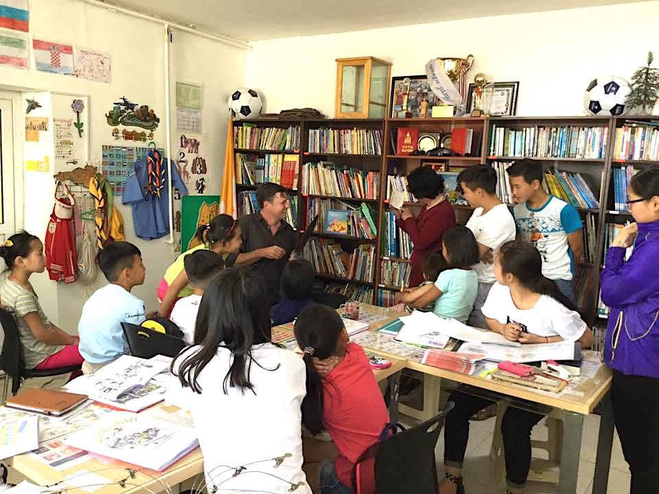 With Mongolian school children, Mandalgovi, Mongolia