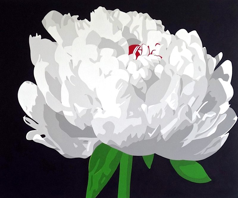 "Moonlit Peony, acrylic on canvas, 30"" x 36"""