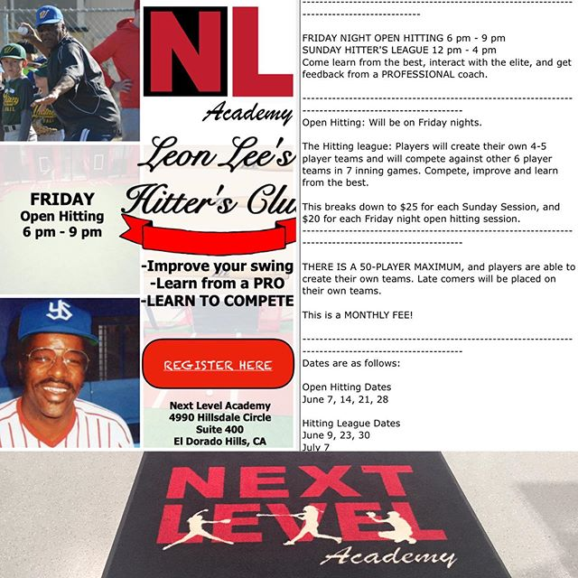 @next_level916 ONLY at Next Level Academy. Inbox me for more details! Friday night Open hitting/ SUNDAY Afternoon Hitting league! #an opportunity to learn from one of the best!