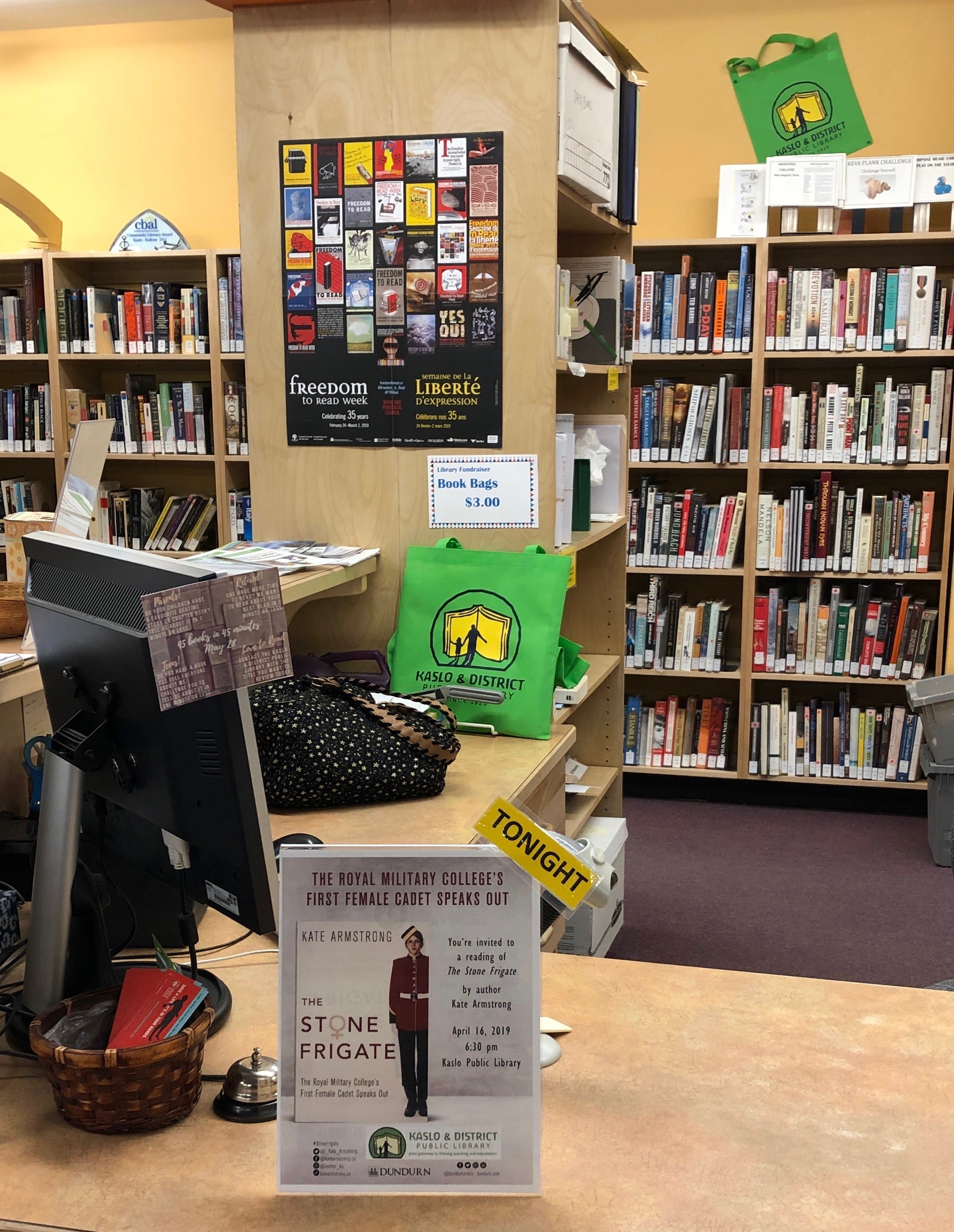The billboard on the Kaslo & District Public Library's front desk announcing my speaking and reading event for the evening..