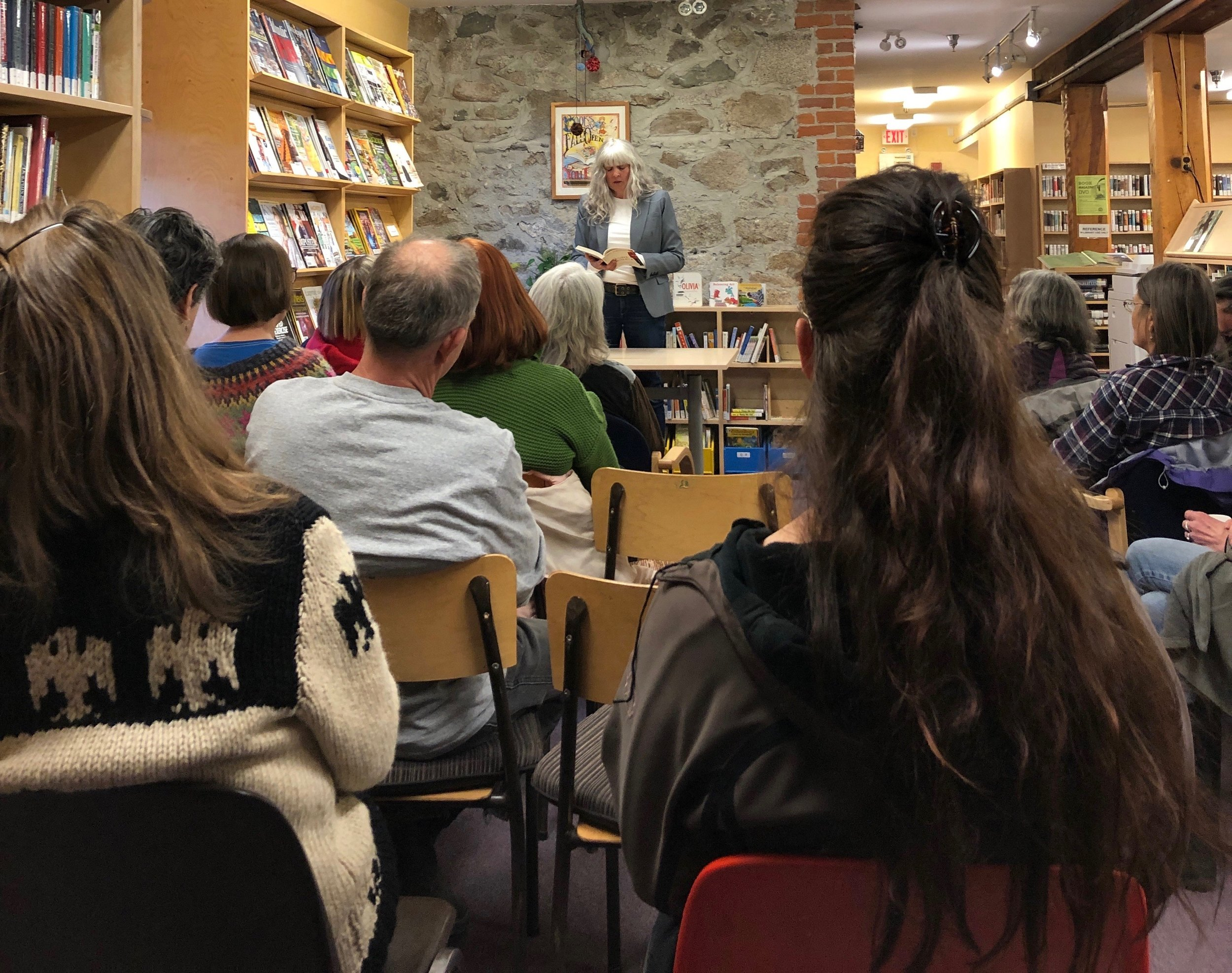 After speaking about The Stone Frigate and what the book means to me, I did a short reading before answering questions. The Kaslo crowd was lively, full of insights, and even shared a few stories of their own. Thank you everyone for participating! Thank you to the Kaslo & District Public Library, especially Angela Bennett, for inviting me to share an evening in your amazing space.