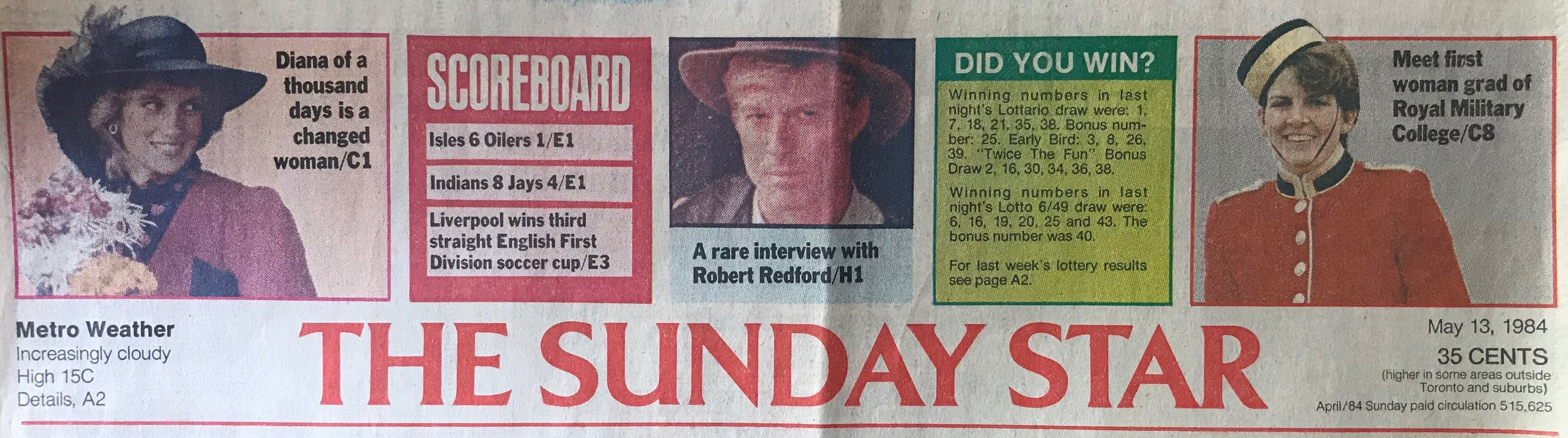 The front page headline banner for the Sunday Edition of The Toronto Star in 1984 continues to amaze me. It was a surreal moment to see myself featured alongside Princess Diana and Robert Redford.
