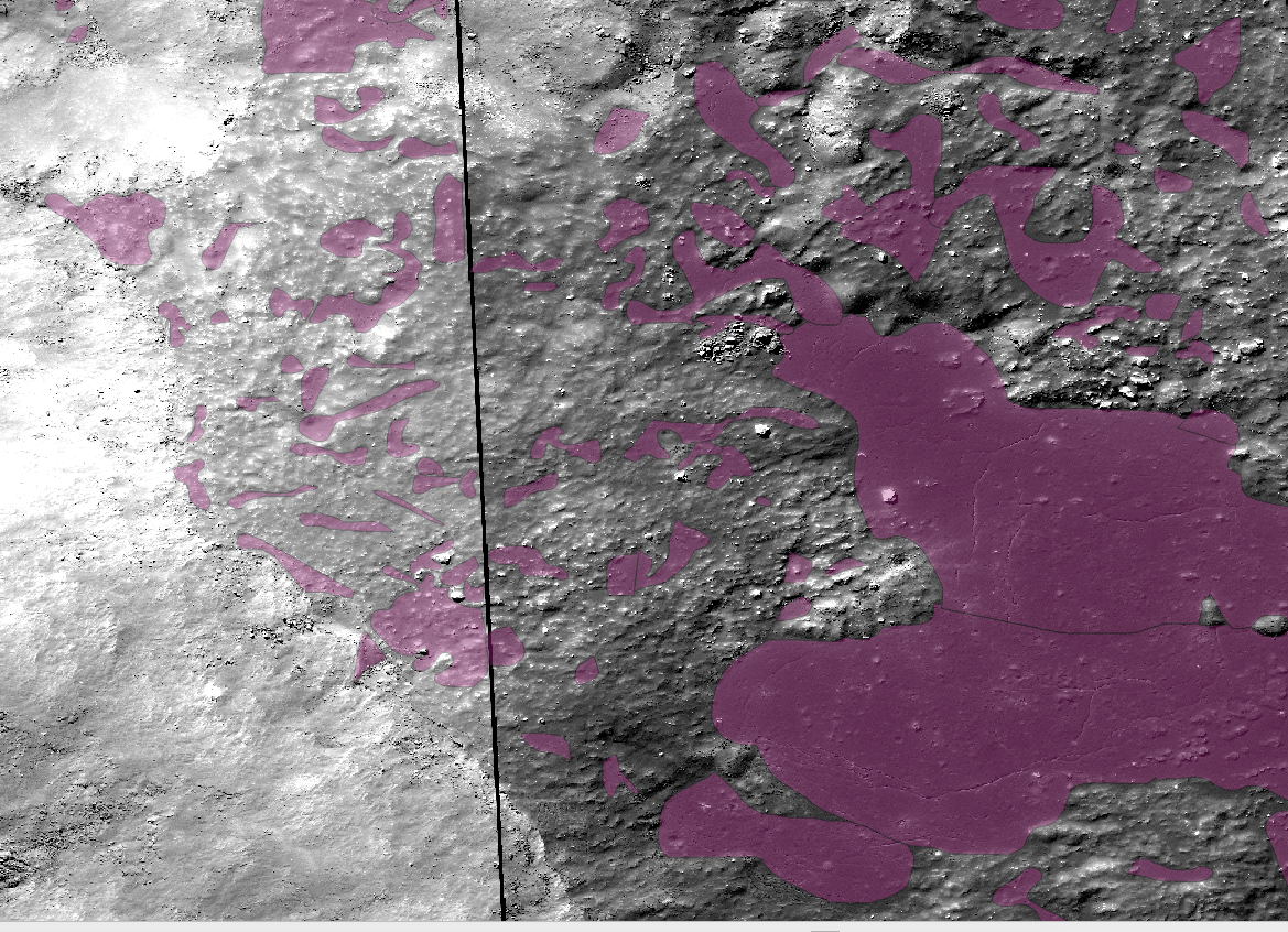 Here we see the melt denoted in mauve. There is also strong indicators of melt, including colling cracks and albedo changes where the pools are located.