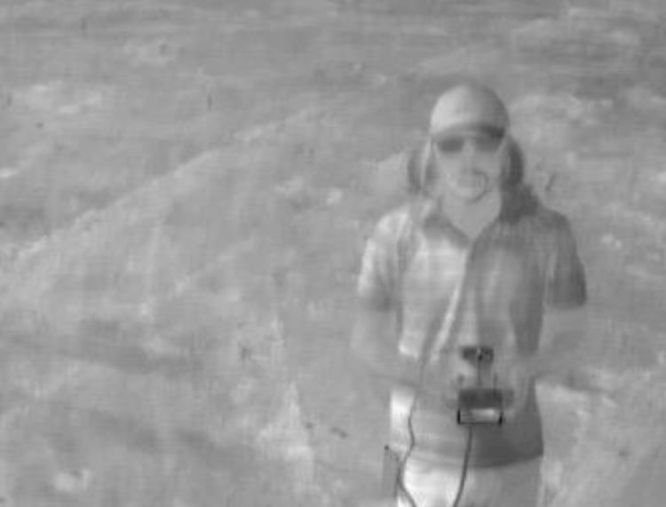 FAA Small Unmanned Aircraft Systems Certified Pilot Will Y. flying a DJI Inspire 1 v2 with a Zenmuse XT thermal camera taking a selfie at the USDA facility in Maricopa, Arizona.