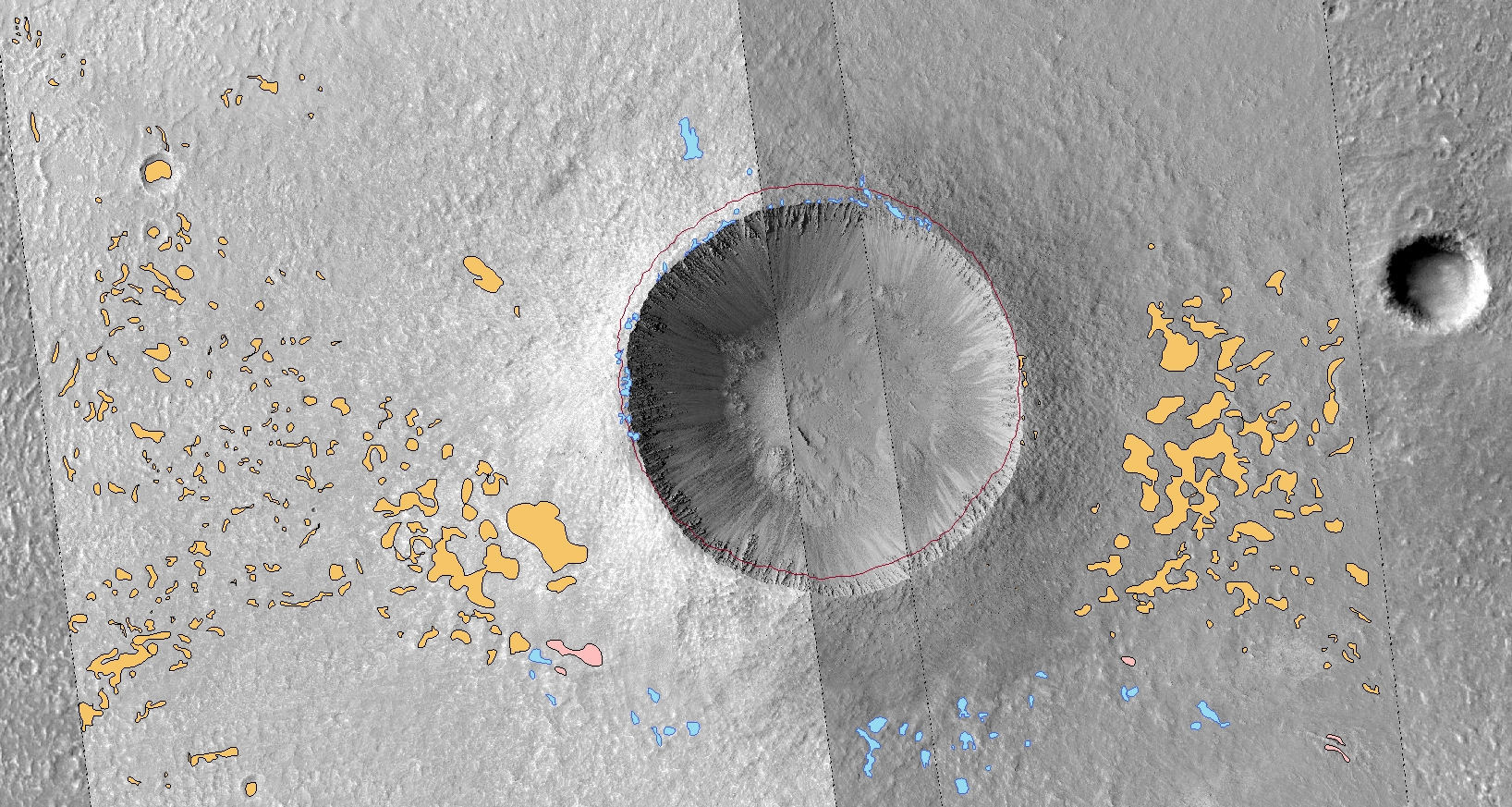 In situ map of Zumba. Orange refers to pitted pools, blue to smooth pools, and pink to possible pools. The line refers to the rim of the crater measured from a HiRISE-made DTM.