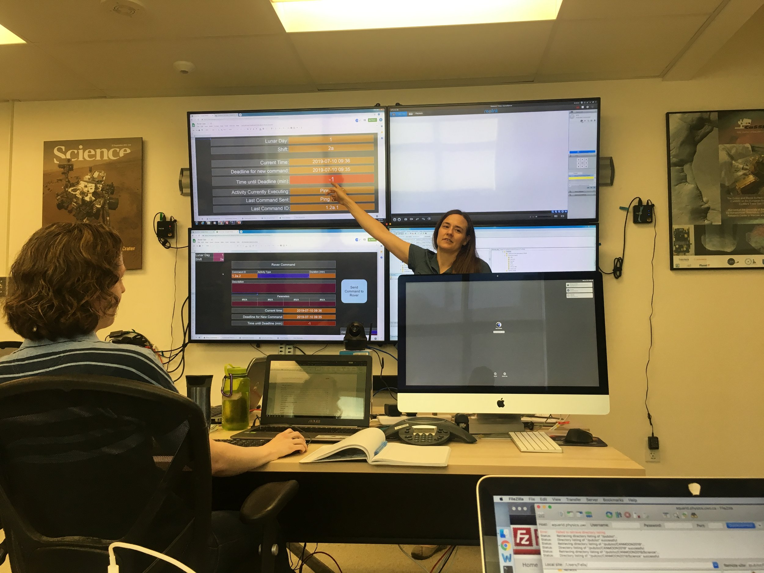 Cass explains how commands are sent to our simulated rover for CanMoon.