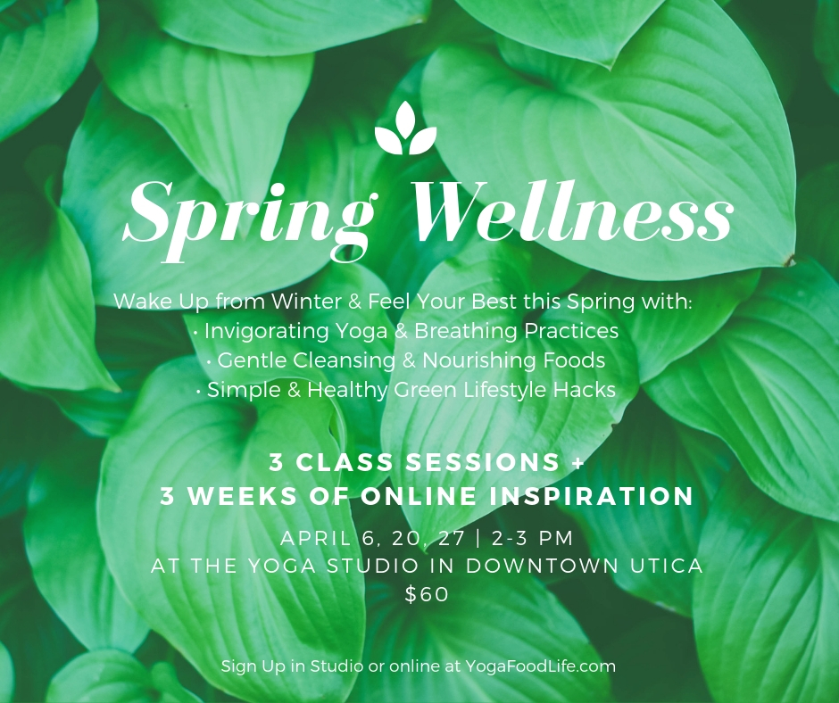 Click here to register for my Spring Wellness Workshop with 3 weeks online + LIVE, LOCAL CLASSES at The Yoga Studio in Downtown Utica, Michigan