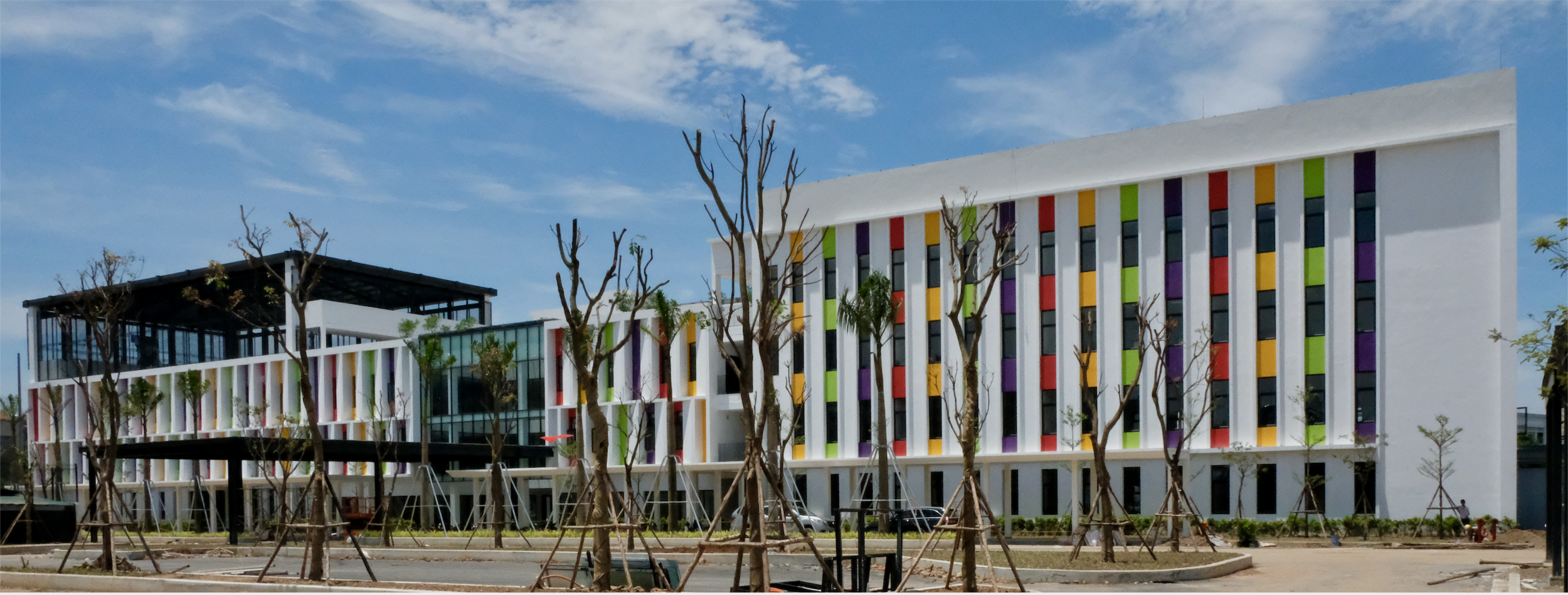 ISPH Campus - main building and newly planted trees - 5th June 2019