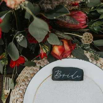 styled shoot place cards
