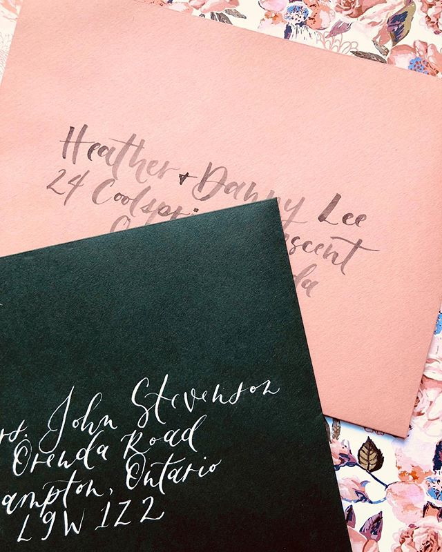 "Brush calligraphy or more traditional pointed pen?⠀ ⠀ I definitely want to incorporate some fall colours in my own wedding and now this pic I took is making me want to toy with different coloured envelopes (not that anyone would know but I would know and that's enough). ⠀ ⠀ I put a light blazer over a dress earlier this week and asked tony if it looked alright enough for work. He said, ""ya it's fine when have you ever matched?"" Point is: I've always been a little random and a little unmatchy (like not matching my socks, wearing multiple patterns - I do not care). Naturally a few elements of the wedding should tastefully not match. ⠀ ⠀ Maybe dark green, maybe a rust? Burgundy?⠀ -⠀ -⠀ -⠀ -⠀ -⠀ -⠀ -⠀ #calligraphydaily #calligraphy #moderncalligraphy #calligraphers #ottawacalligraphy #ottawaartist #ottawa #calligrapher #thecalligraphyhub #pointedpencalligraphy #calligraphycommunity #calligraphyaddict #calligraphypen #thedailycalligraphy #createdtoday #letteringtime #dailylettering #letteringquotes #weddingcalligrapher #dippencalligraphy #calligram #calligraphypractice #scriptlettering #dailycalligraphy #calligraph #pointedpen #envelopecalligraphy #nomoreboringenvelopes #weddingenvelopes"