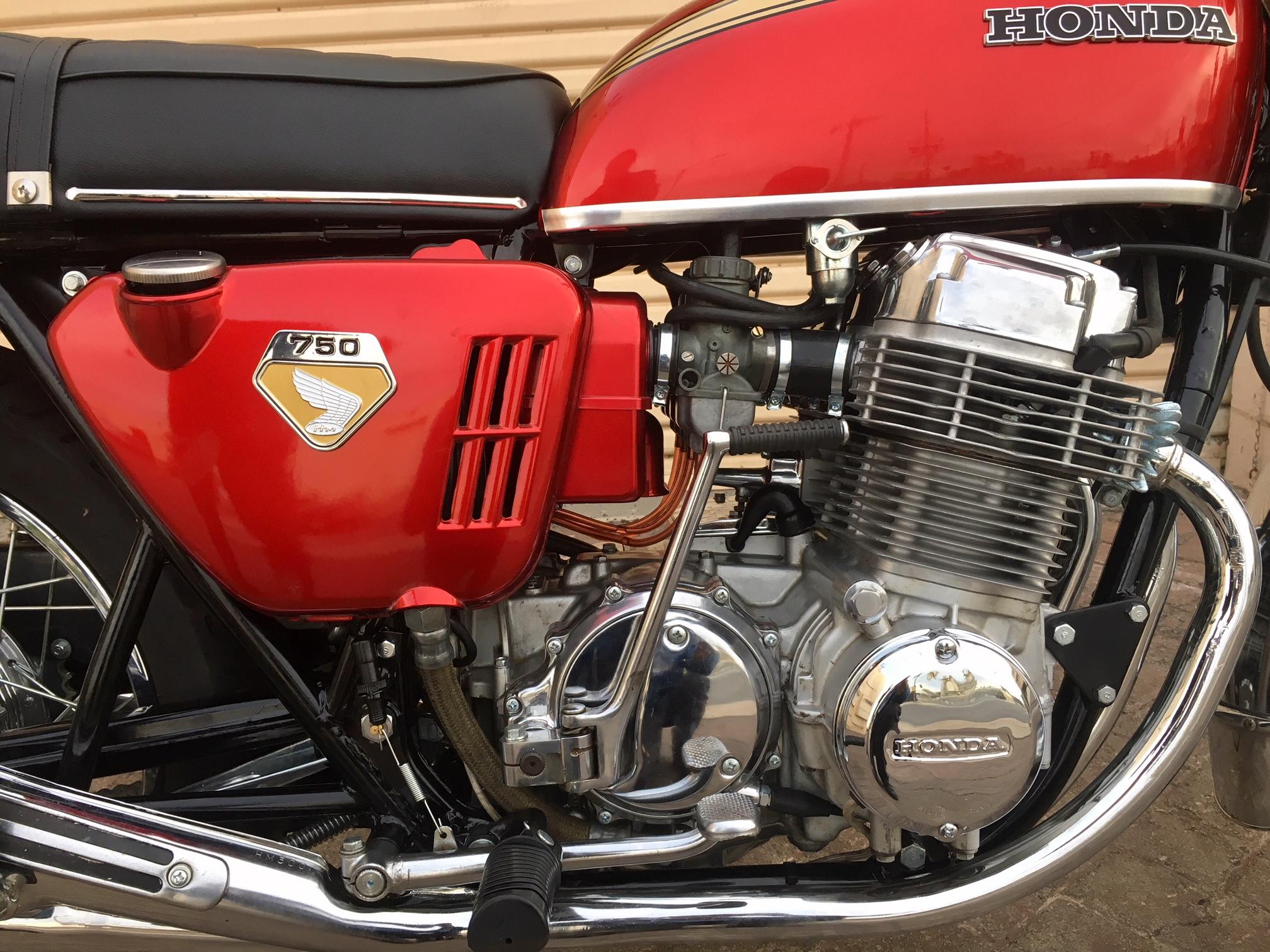 (Close up, Engine Right) 1970 (Red) Honda CB750.jpg