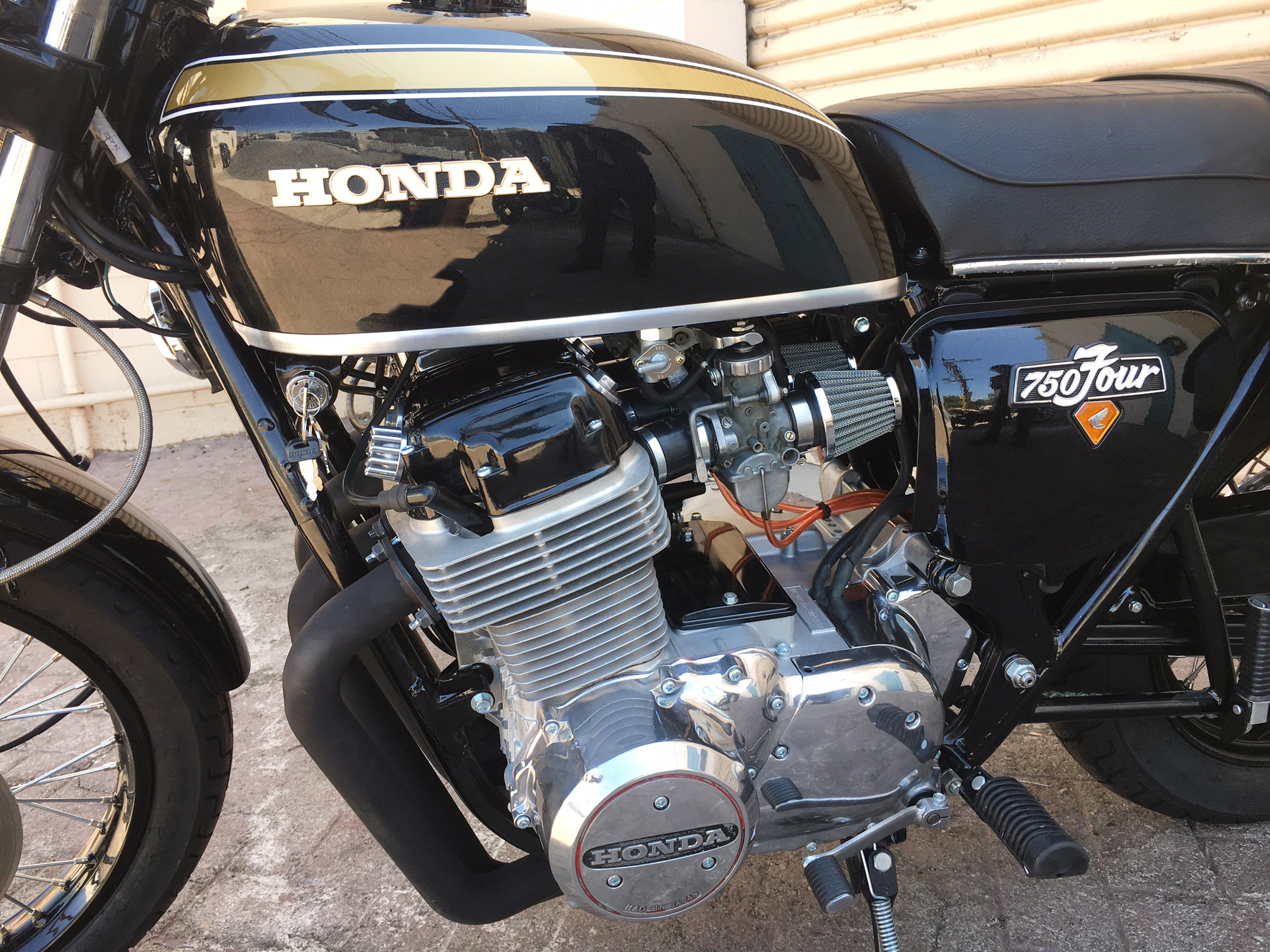 (Close up, Engine Left) 1973 Period Correct (Black) Honda CB750.JPG