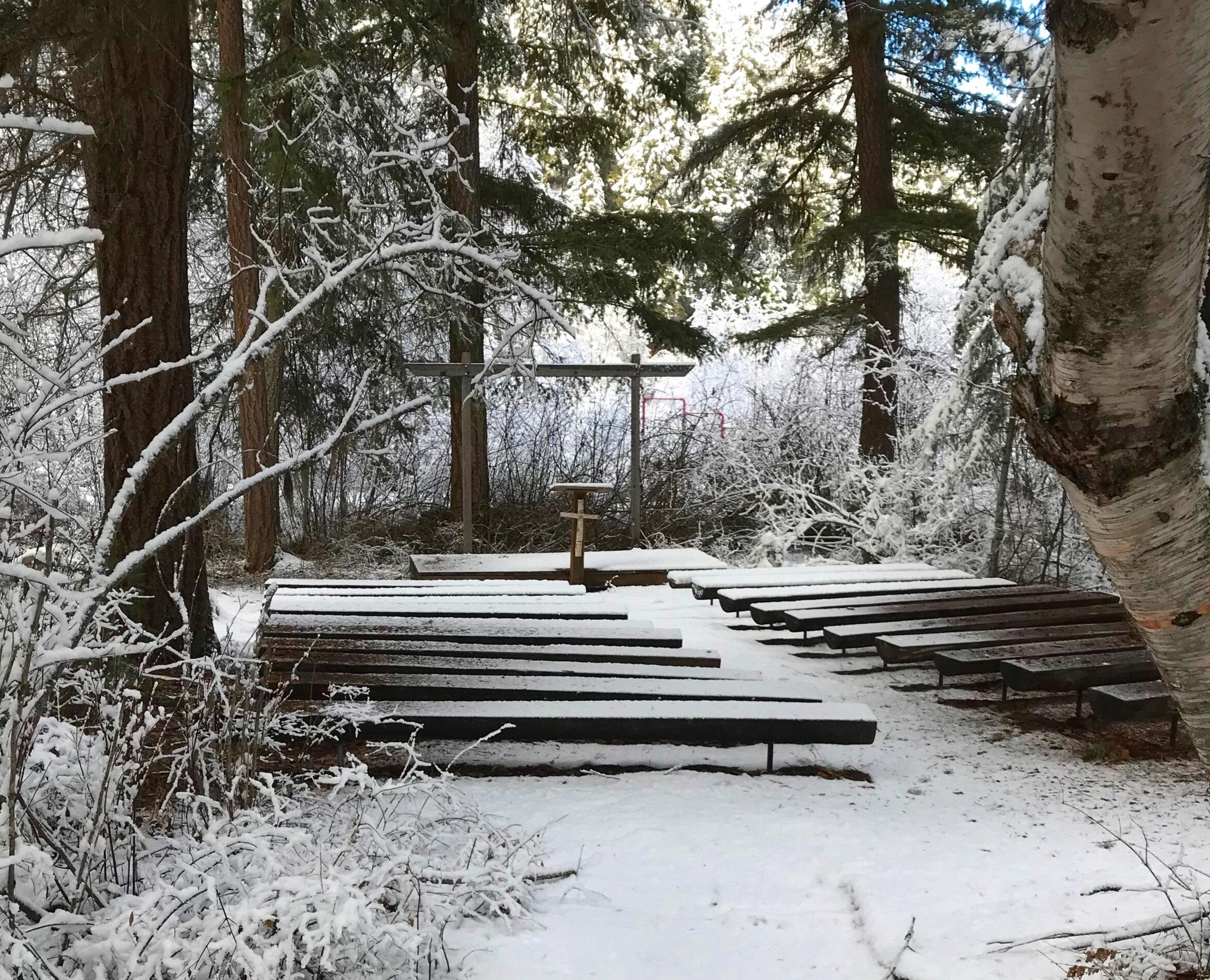 Outdoor Chapel:  Benches, platform, podium, seats 120